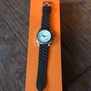 Fossil men's watch. Rubber band, stainless steel